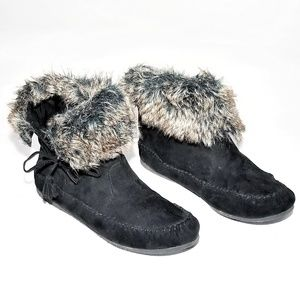 Madden Girl Winter Booties - Faux Fur top Size 10M